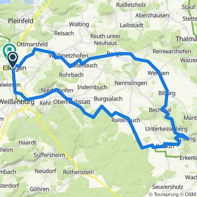 Radtour Ellingen-Titting und zurück über Thalmannsfeld