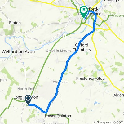 Station Road, Stratford-upon-Avon to 2–3 Narrow Lane, Stratford-upon-Avon