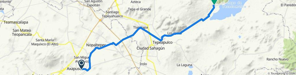 Ruta desde Calle Alfredo del Mazo, Axapusco