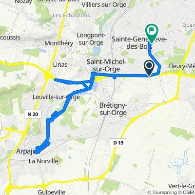 De Rue Paul Langevin 13, Sainte-Geneviève-des-Bois à Rue des Solitaires 28, Sainte-Geneviève-des-Bois