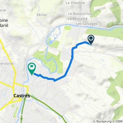 De 24 Chemin de Tournemire, Castres à 73 Rue Théron Périé, Castres