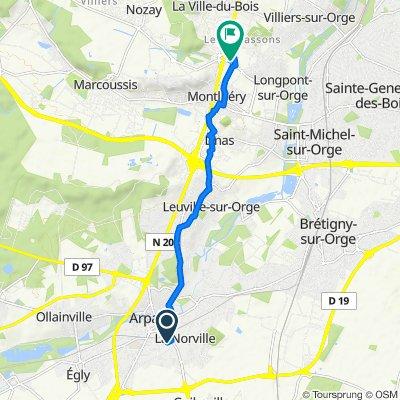 De 7 Sentier des Bleuets, La Norville à 1 Rond-Point des Bourguignons, Montlhéry