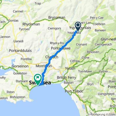 Erwlas, Yniscedwyn Road, Swansea to Oystermouth Road, Swansea