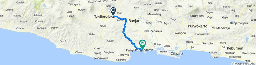 Jalan Kapten Heru Suryadi 62, Kecamatan Ciamis to Wonoharjo, Kecamatan Pangandaran