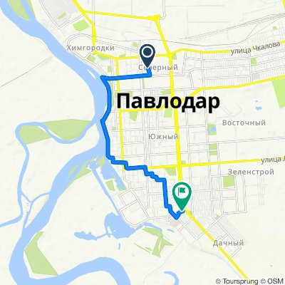 От улица Короленко 4, Павлодар до проспект Тәуелсіздік 204, Павлодар