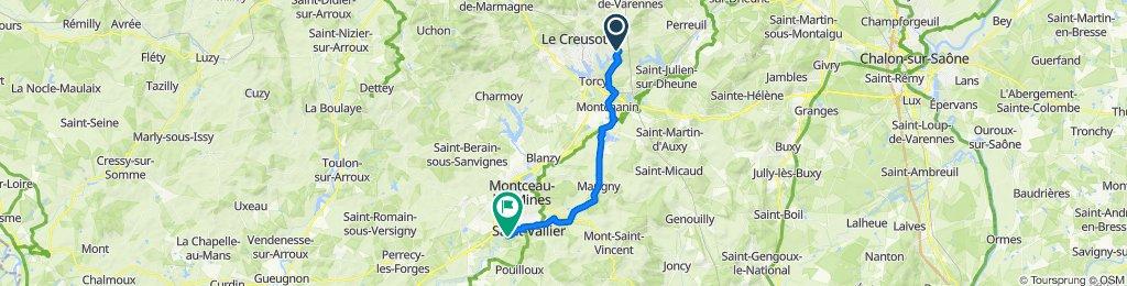 De 142 Rue du Creusot, Le Breuil à 6–12 Rue de la Garenne, Saint-Vallier