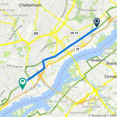 4668–4698 Ashburner St, Philadelphia to 2634 E Allegheny Ave, Philadelphia