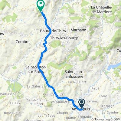 De Place Général de Gaulle 1, Amplepuis à D58, Thizy-les-Bourgs