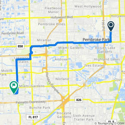 1000 NW Eighth Ave, Hallandale Beach to 17601–17649 NW 39th Ave, Miami Gardens