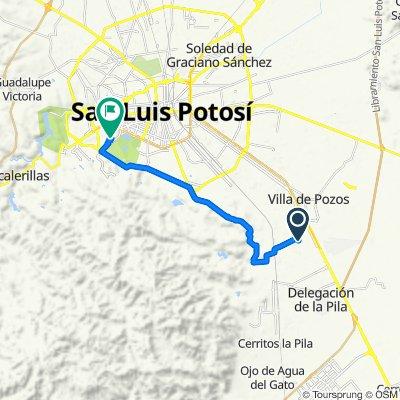 De Avenida de la Comisión Federal de Electricidad 541–661, San Luis Potosí a Calle Parque Nacional 306, San Luis Potosí
