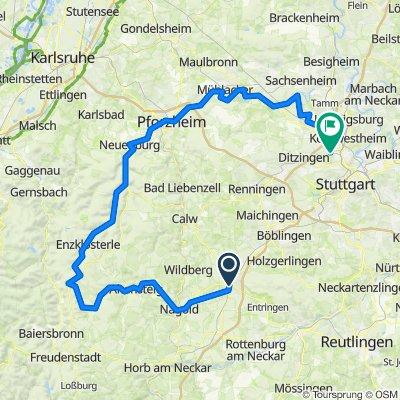 Mit Rennrad von Herrenberg, Pforzheim, Neuwirtshaus