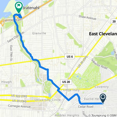 Coventry Road 2085, Cleveland Heights to Lakeshore Boulevard 8701, Cleveland