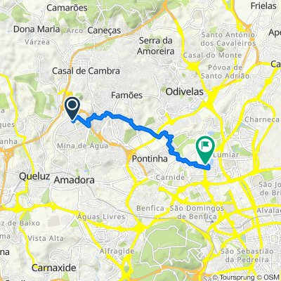 Estrada da Central, Amadora to Rua Professor João de Castro Mendes, Lisbon