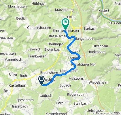Route nach Rhein-Mosel-Straße 38A, Emmelshausen