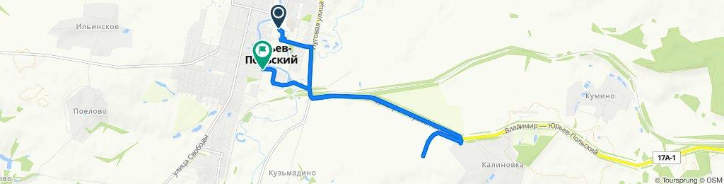 От площадь Советская 9, Юрьев-Польский до улица Перфильева 3, Юрьев-Польский