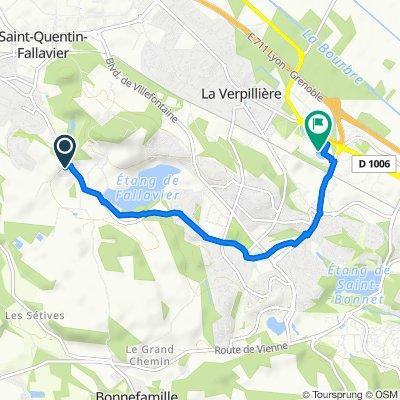 De 276 Impasse des Fontaines, Saint-Quentin-Fallavier à 1 D318, Villefontaine