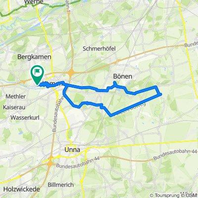 "Wohnung - Bönen Förderturm - Flierich (evtl. Kirche mit ""Beguinenhof"" - Heeren - zurück, 31 km"