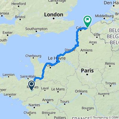 Bruz Avranches Dunkerque bikemap