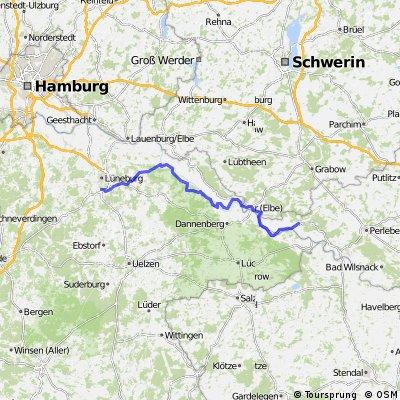 Von Lüneburg nach Lenzen an der Elbe-Südseite