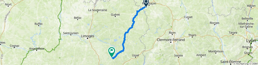 De 17 Route du Theil, Prémilhat à 2–4 Rue Eugène Daubech, Treignac