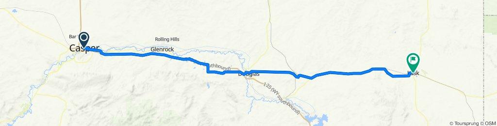 #22 Casper, Wyoming to Lusk, Wyoming.  Lusk hosts the Legend of Rawhide. The 2nd weekend of July in Lusk, Wyoming  -167 km