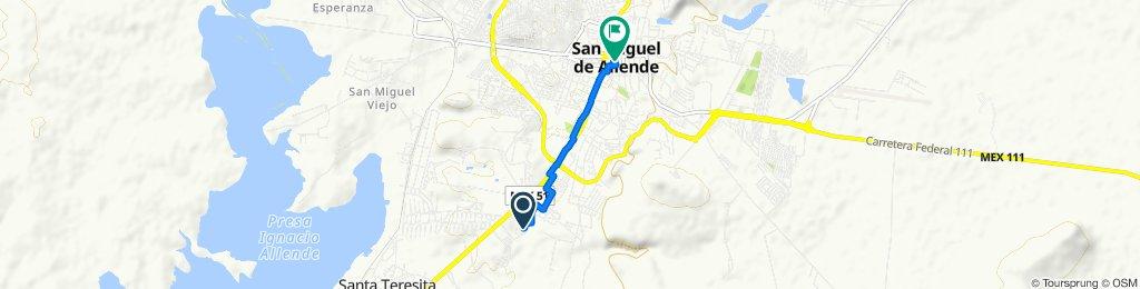 Ruta a Calle Cuna de Allende 6, San Miguel de Allende