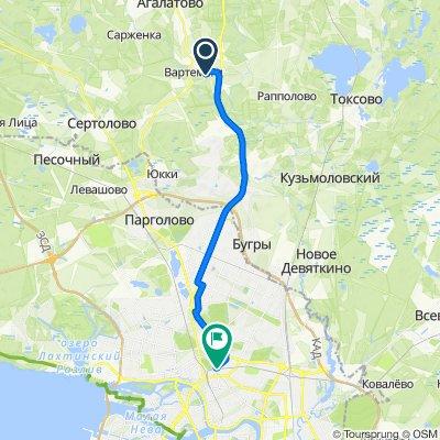 От Токсовское шоссе 5, Вартемяги до Кушелевка, Санкт-Петербург