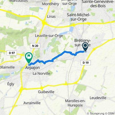 De Avenue des Oiseaux, Brétigny-sur-Orge à 17 Rue des Grouaisons, Arpajon