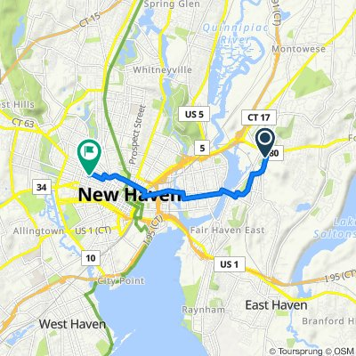 424 Eastern St, New Haven to 452 Orchard St, New Haven