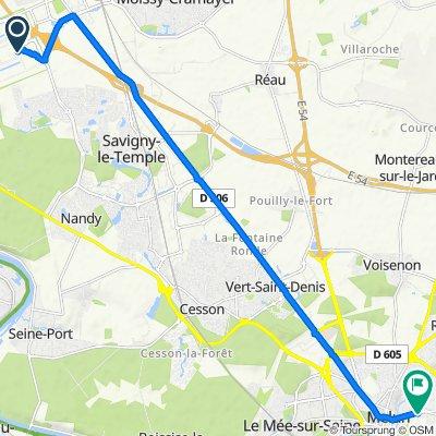 Moderate route in Melun
