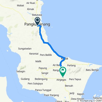 Jalan Soekarno Hatta 9, Kecamatan Girimaya to Jalan Raya Gadung, Kecamatan Air Gegas