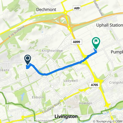 Route from 39 Lanark Avenue, Livingston