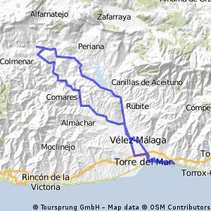 MEZQUITIULLA/RIOGORDO POR Triana,Benamargosa y vuelta por carretera Casabermeja