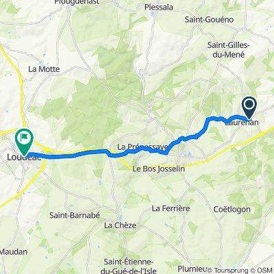 De 3 Rue de l'Étrat, Laurenan à 1–33 Rue Neuve, Loudéac