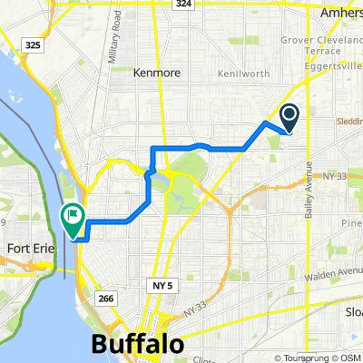95 Shirley Ave, Buffalo to 92 W Ferry St, Buffalo
