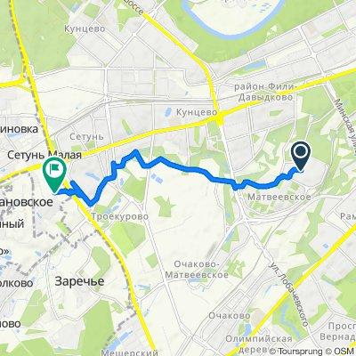 От Веерная улица 32 корпус 3, Москва до Unnamed Road, Марфино