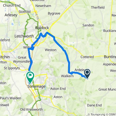 Route to 18 Angotts Mead, Stevenage