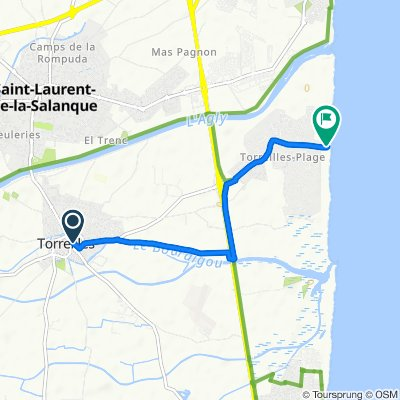 Itinéraire à partir de 31 Rue Longue, Torreilles
