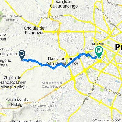 De Privada Guadalupe Victoria, San Andrés Cholula a Boulevard Niño Poblano 2510, Puebla