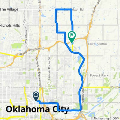 Sporty route in Oklahoma City