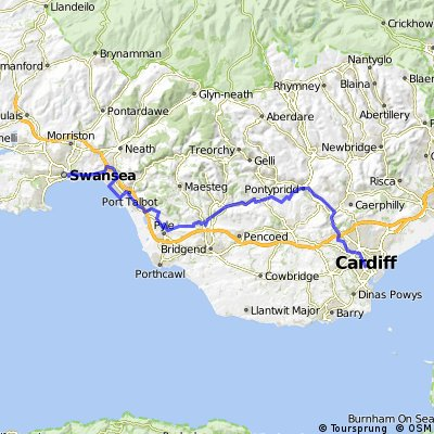 Swansea to Cardiff on cycle route 4 & 8