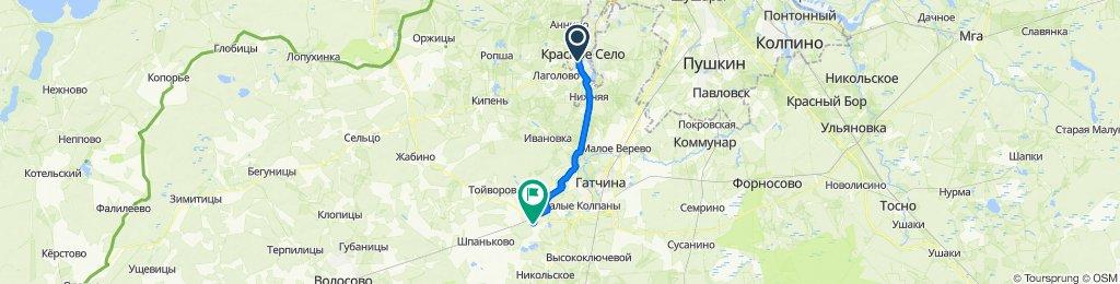 От улица Восстановления 29, Санкт-Петербург до Молодёжная улица 6, Войсковицы