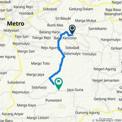 Jalan Hargomulyo No.56, Sekampung to Jl. Sumber Bakti, Kecamatan Jati Agung
