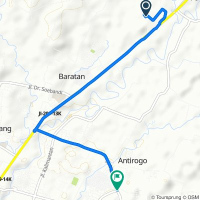 Area Sawah/Kulon, Kecamatan Patrang to Jalan Riau 38, Kecamatan Sumbersari
