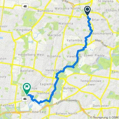 Greensborough to Darebin via Plenty river