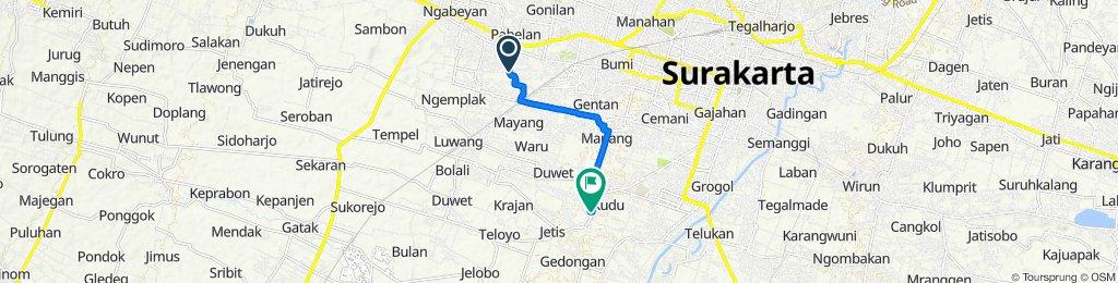 Jalan Gumpang Baru 2, Kecamatan Kartasura to Jalan Baki - Solo, Kecamatan Baki