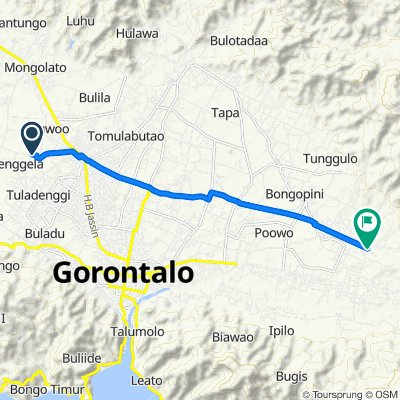 Route from Jalan Sartika, Telaga
