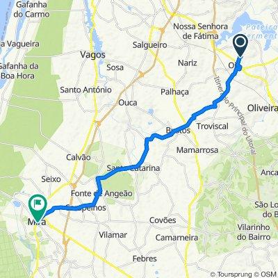 Rua das Agras de Cima 6, Oiã to Rua Fernandes Costa 78–90, Mira