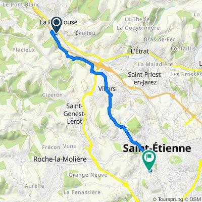 De 5 Route de Saint-Genest-Lerpt, La Fouillouse à 46–52 Rue de Tardy, Saint-Étienne