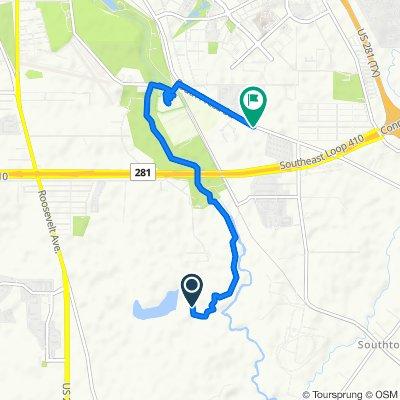 Route to 9211 S Presa St, San Antonio